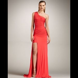 NWT Herve Leger One Shoulder Red Coral Poppy Gown